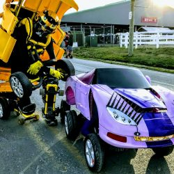 yellow and girl car